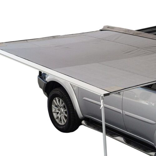 Awning with adjustable horizontal & vertical support poles